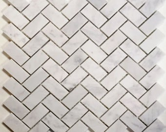 Italian White Carrara Herringbone Mosaic