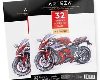 "Arteza Marker Pad 9X12"" (60lb/100g, 32 Sheets, 2 Pack)"