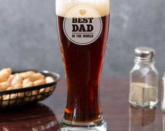 Gift Ideas For Dad Birthday - Best Gift Ideas For Dad - Beer Gifts For Dad - Father's Day Gifts - Father's Day Pilsner Glasses - Best Dad