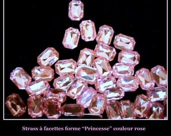 50 rhinestone Princess shaped decoration wedding rose 10 mm X 14 mm.