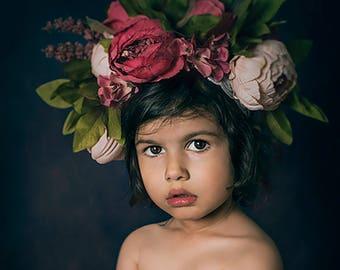 Flower crown big floral headband purple peonies floral headpiece photography props photography