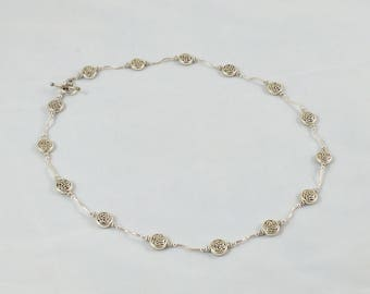 sterling sliver necklace with silver-plated beads