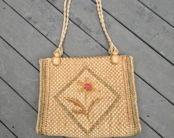 Vintage Woven Straw Tote Bag