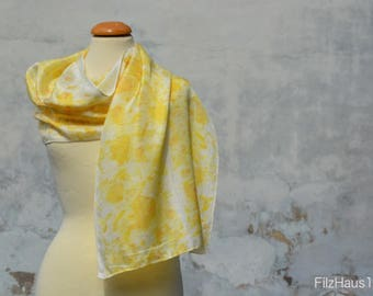 Silk scarf, silk scarf, yellow, eco-print, handmade from the FilzHaus16