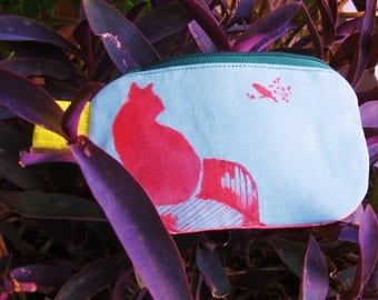 small coin purse with handmade prints, zipper wallet , money pouch