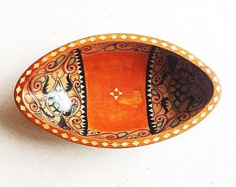 Hand Painted Wooden Oval Vessel