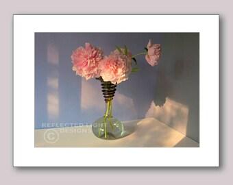 Photo Note Card, Peonies in Deco Vase
