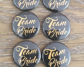 10 x 25mm Black and Gold Team Bride Button Badges