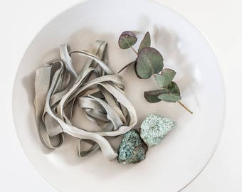 Misty Green~ Hand dyed Habotai Silk Ribbon, Bouquet ribbon, Green Ribbon, Bridal bouquet ribbon, Silk Ribbon, Habotai Ribbon,Naturally dyed~