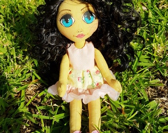 25 cm Handmade Doll With Black Curly Hair and Pink Stylish Dress