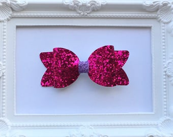 Hot pink and purple glitter bow hair clip