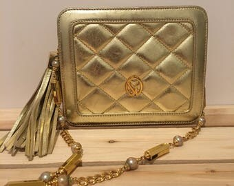 ST. JOHN Vintage Gold Chain Strap Bag