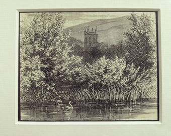 Antique engraving church countryside river swans mountains romantic matted print 1880s original vintage excellent condition
