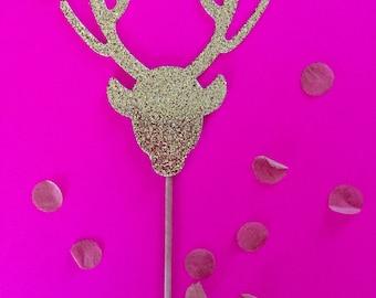 12 Gold Glitter Deer Cupcake Topper