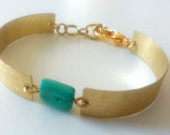 Gold Brass Bracelet with Turquoise Green Magnesite, Flower Detail
