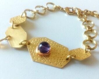 Gold Brass Geometric Bracelet with Amethyst and Sunshine Yellow Colour Quartz