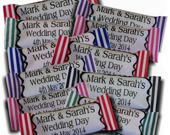 50 x Personalised Sweets Candy Stripe Wedding favours with colour to match your colour scheme