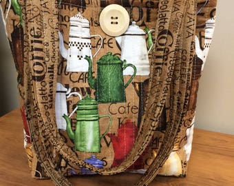 Brown Coffee Pot Quilted Handbag