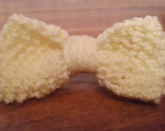 Light Yellow Knitted Bow Hair Clip