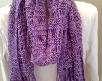 Open stitch lace wrap with fringe