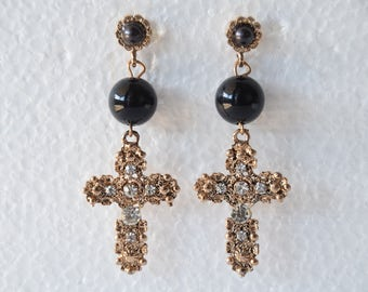 Vintage Earrings Cross Earrings