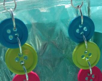Bright Tri-Color Button Dangle Earring Nickel Free
