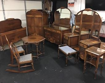 Nine Piece Solid Walnut 1920s Art Deco Bedroom Furniture Set