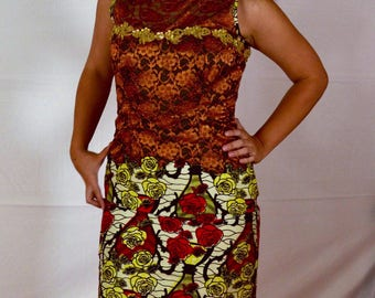 Multi-Colored Lace & Ankara African Sheath Dress