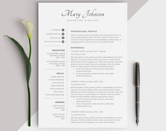 Professional Resume Template / Modern CV Design - Easy Instant Download for Word - Creative and Inspiring look for Jobseekers - Excellent