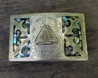 Silver aztec temple belt buckle Teotihuacan De Dioses abalone inlay * FREE SHIPPING*