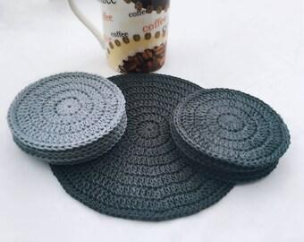 Crochet Coasters, Set of coasters, Cotton coasters, Crochet Cotton Set