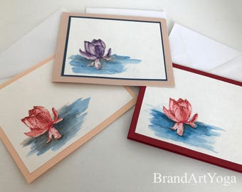 Lotus Blossom Bundle, blank cards, greeting cards, Yoga card, yoga stationary, Namaste, spiritual card, yoga art, yoga art cards, zen cards
