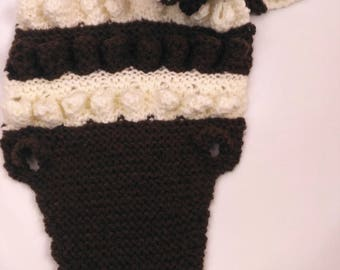 Scarf - Crocodile-child-mixed - knitted by hand in France - color chocolate - one size _ acrylic winged