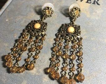 Vintage Bronze-tone Chandelier Earrings