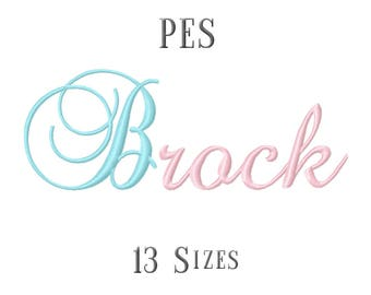 13 SIZE PES Fonts Brock Script Embroidery Fonts Embroidery Designs Embroidery Alphabets Letters Monogram Embroidery Fonts - Instant Download
