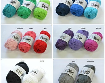 100% Mercerized Cotton yarn TANGO 50gr 125m Cotton Yarn knitting Crochet thread Сhoice of color Many Colors Natural Yarn, All colors
