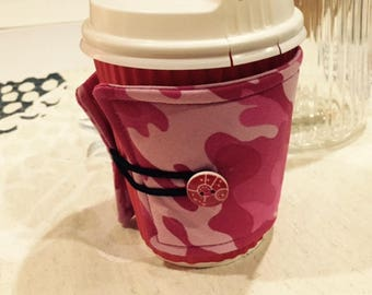 Pink fatigues coffee cozy