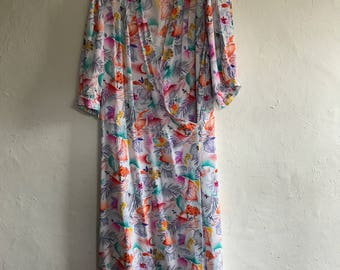 Vintage 80's Neon Print Dress Size 12