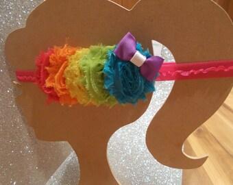 Summer Bright Rainbow Headband. Summer Headband. Rainbow Headband. Summer time headband! Newborn, Toddler, Infant, Teenager, Adult Headband!