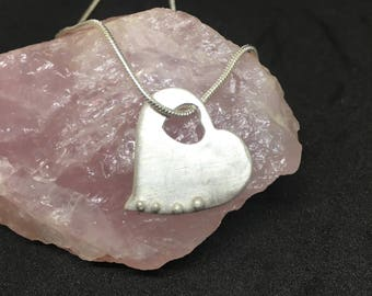 Hand made Fine Silver heart pendant with cut out heart opening