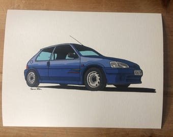 Peugeot 106 Rallye Series 2 Illustration Print