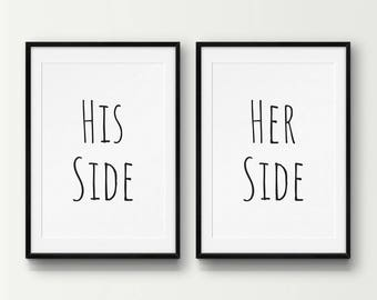 2 Pack, His Side Her Side (Slim) Wall Art, Bedroom Wall Art, His and Hers Decor, Husband Gift, Wife Gift, Set of Prints