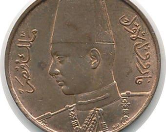 EGYPT  1938 AH1357 1/2 Millieme - KM-357 - Very choice Red Brown Unc