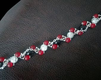Handmade leather bracelet, silver plated with beads