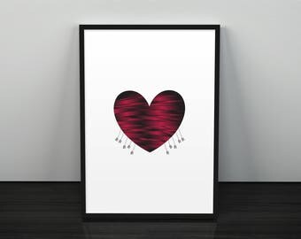 Dead and Torn Heart with Spears on it, Instant Download, Art Print, Wall Art, Printable