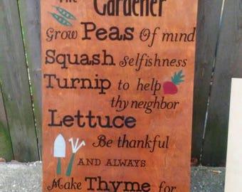 Outdoor sign- Advice for Gardener