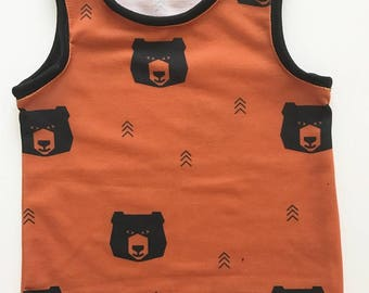 toddler baby boy rust geometric bear tank top