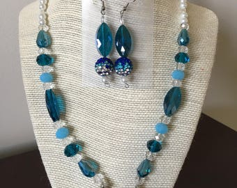 Blue and white beaded necklace with earrings