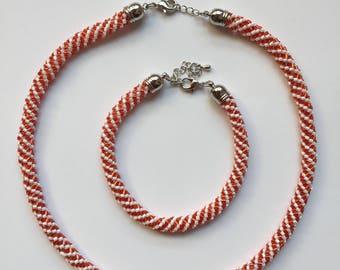 Copper White Pearl Jewelry set