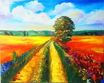 Road through the field. Sunset. Landscape. Nature.Hand made oil Painting on canvas.  UK. 40x50 cm. Wall art.